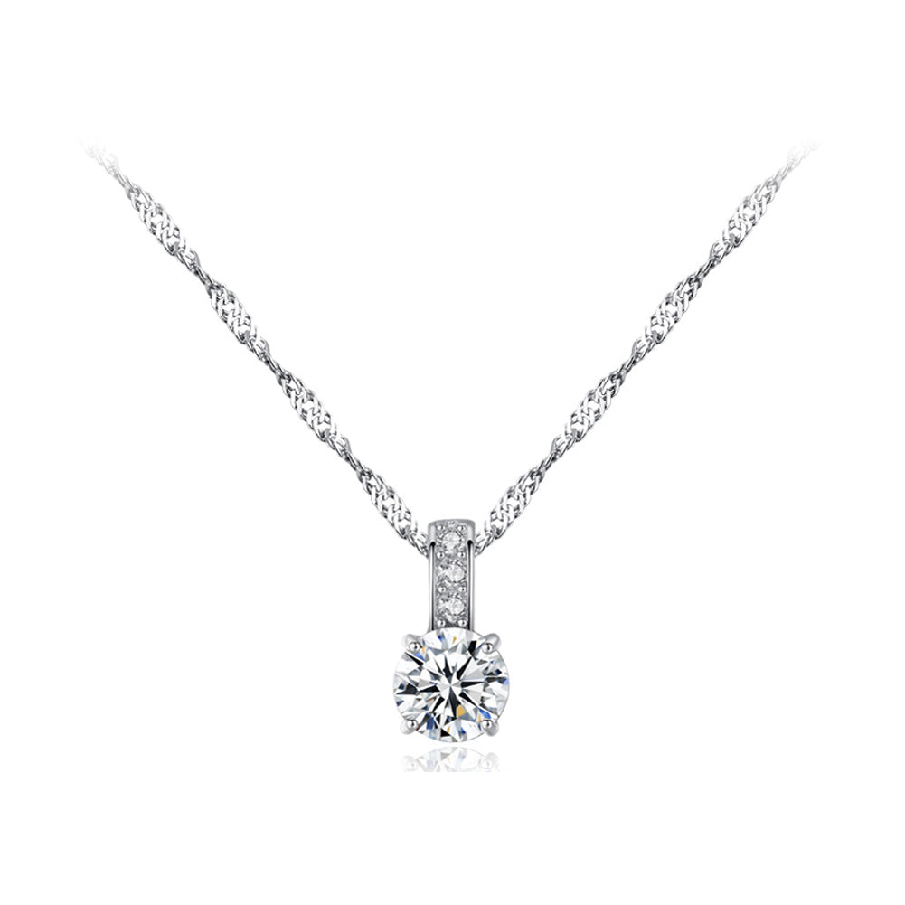 925 Sterling Silver Fashion Simple Geometric Round Cubic Zirconia Pendant with Necklace