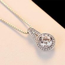 Load image into Gallery viewer, 925 Sterling Silver Elegant Simple Geometric Round Cubic Zirconia Pendant with Necklace