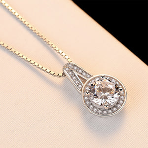 925 Sterling Silver Elegant Simple Geometric Round Cubic Zirconia Pendant with Necklace