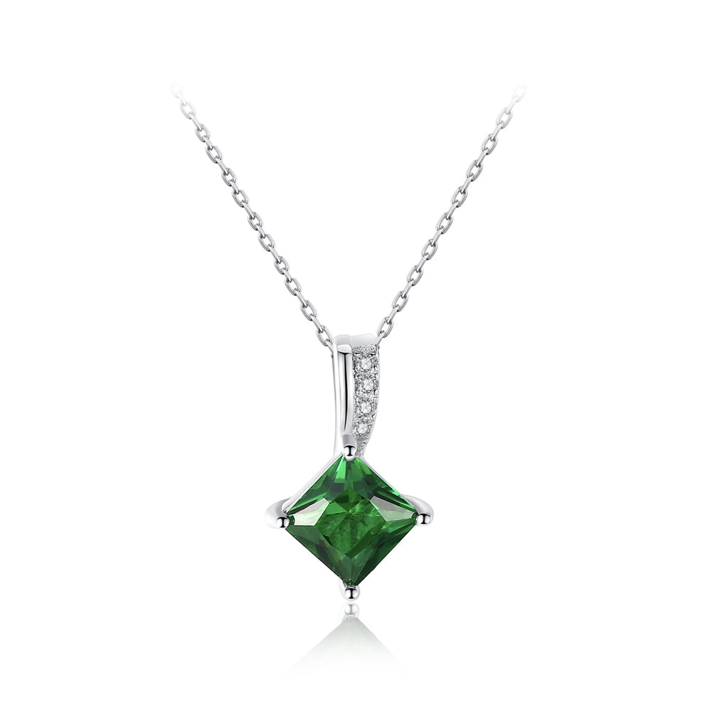 925 Sterling Silver Fashion Simple Elegant Geometric Diamond Green Cubic Zirconia Pendant with Necklace