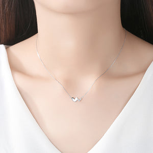 925 Sterling Silver Simple Romantic Double Heart Necklace with Cubic Zirconia