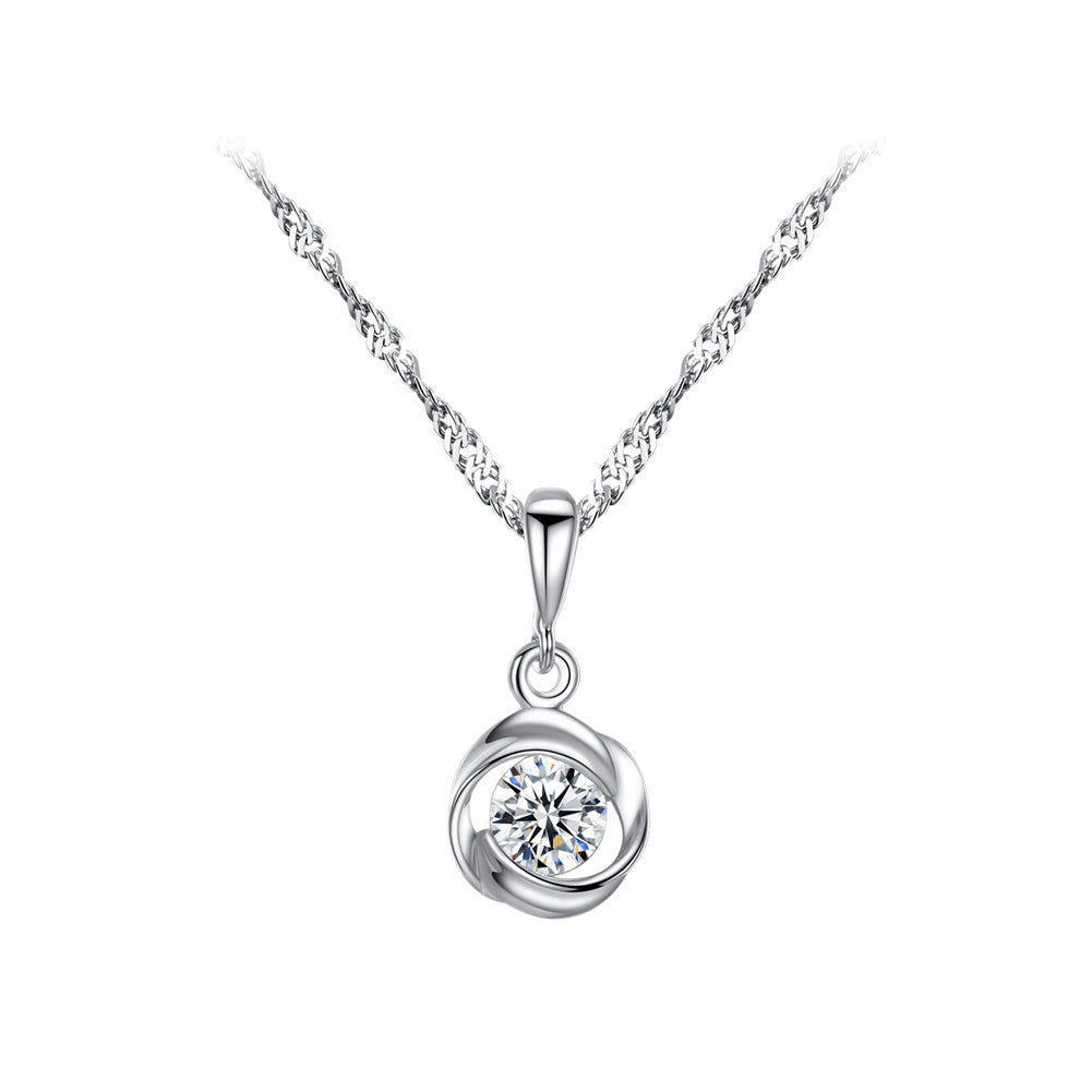 925 Sterling Silver Fashion Simple Geometric Round Pendant with Cubic Zirconia and Necklace