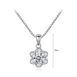 925 Sterling Silver Fashion and Elegant Flower Pendant with Cubic Zirconia and Necklace