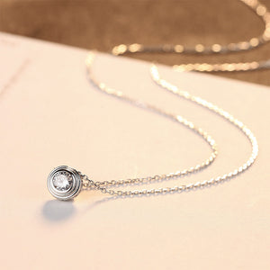 925 Sterling Silver Simple and Fashion Geometric Round Pendant with Cubic Zirconia and Necklace