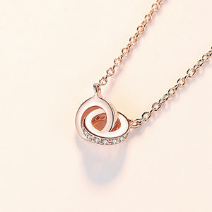 925 Sterling Silver Plated Rose Gold Simple Fashion Double Round Pendant with Cubic Zirconia and Necklace