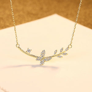 925 Sterling Silver Plated Gold Fashion Elegant Butterfly Necklace with Cubic Zirconia