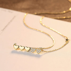 925 Sterling Silver Plated Gold Simple Romantic Heart-shaped Necklace with Cubic Zirconia