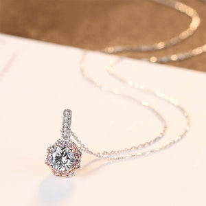 925 Sterling Silver Simple and Fashion Geometric Pendant with Cubic Zirconia and Necklace