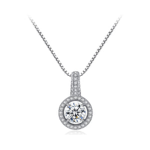 925 Sterling Silver Fashion Shining Geometric Round Cubic Zirconia Pendant with Necklace