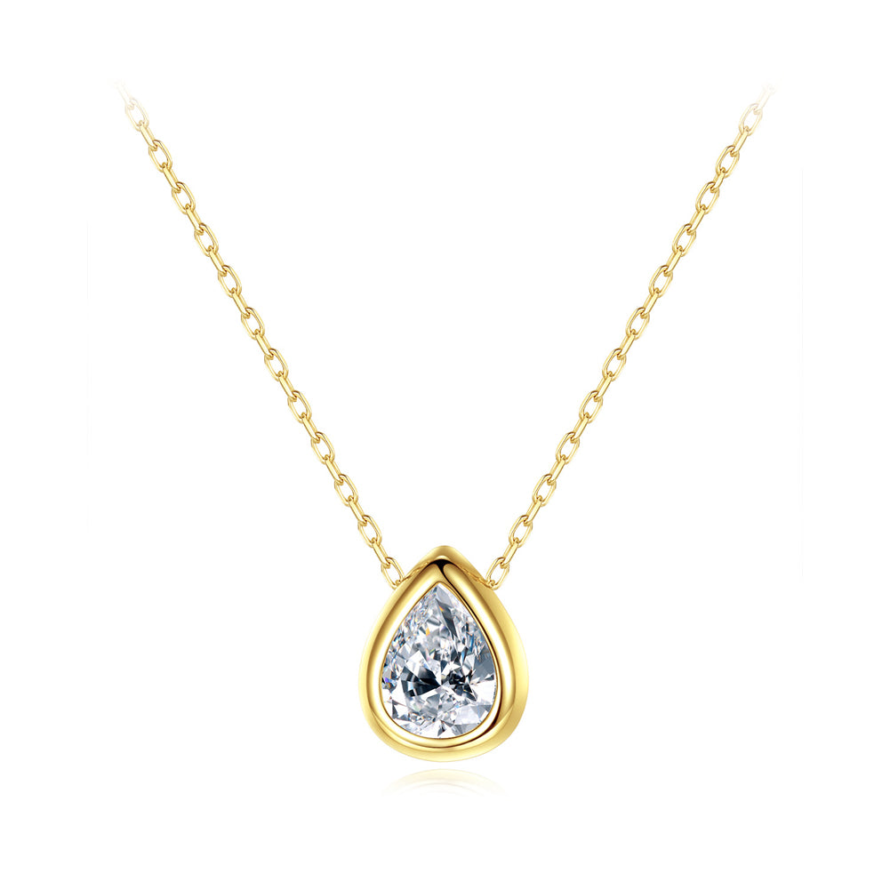 925 Sterling Silver Plated Gold Simple Fashion Water Drop-shaped Cubic Zirconia Pendant with Necklace