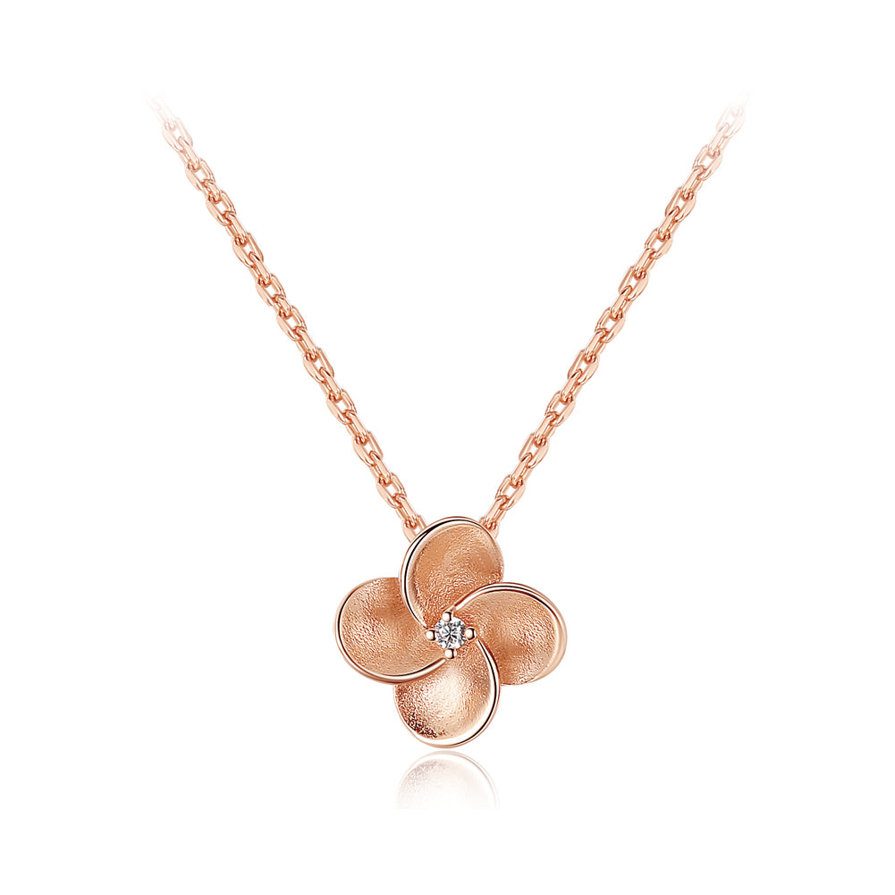 925 Sterling Silver Plated Rose Gold Simple and Elegant Flower Pendant with Cubic Zirconia and Necklace