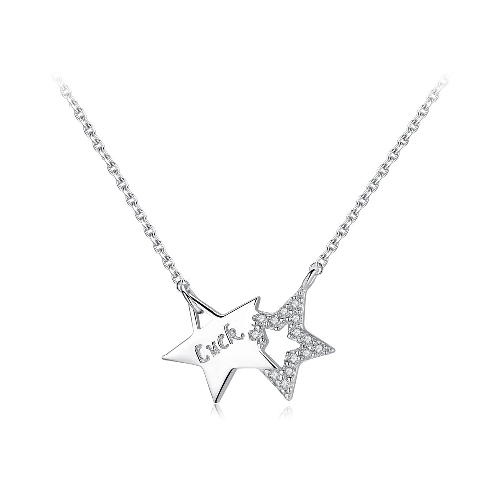 925 Sterling Silver Fashion Simple Double Star Necklace with Cubic Zirconia