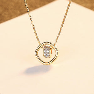 925 Sterling Silver Plated Gold Simple Hollow Geometric Diamond Circle Pendant with Cubic Zirconia and Necklace