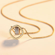Load image into Gallery viewer, 925 Sterling Silver Plated Gold Simple Hollow Geometric Diamond Circle Pendant with Cubic Zirconia and Necklace