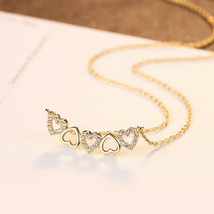 925 Sterling Silver Plated Gold Fashion Romantic Heart-shaped Necklace with Cubic Zirconia