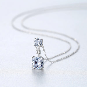 925 Sterling Silver Simple Fashion Geometric Square Cubic Zirconia Pendant with Necklace