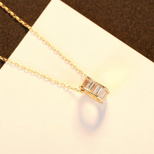 925 Sterling Silver Plated Gold Simple Fashion Hollow Geometric Diamond Pendant with Cubic Zirconia and Necklace