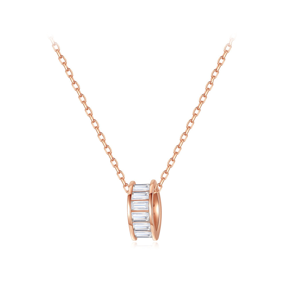 925 Sterling Silver Plated Rose Gold Simple Fashion Hollow Geometric Diamond Pendant with Cubic Zirconia and Necklace
