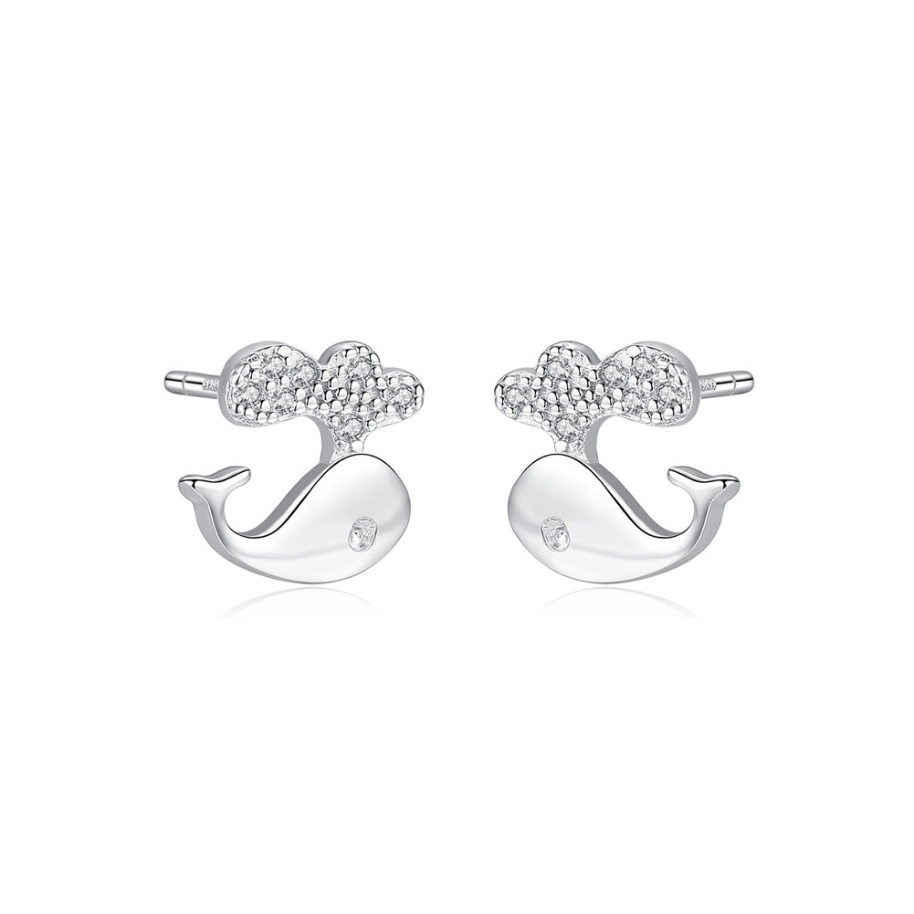 925 Sterling Silver Simple and Cute Dolphin Stud Earrings with Cubic Zirconia