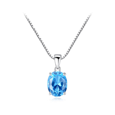 925 Sterling Silver Simple Fashion Geometric Oval Blue Topaz Pendant with Necklace