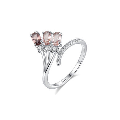 925 Sterling Silver Fashion and Elegant Geometric Adjustable Open Ring with Cubic Zirconia