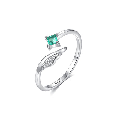 925 Sterling Silver Simple and Elegant Angel Wings Adjustable Open Ring with Green Cubic Zirconia