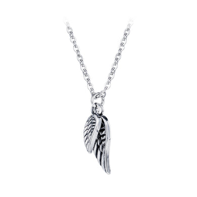 Fashion Classic Titanium Steel Angel Wing Pendant with Necklace