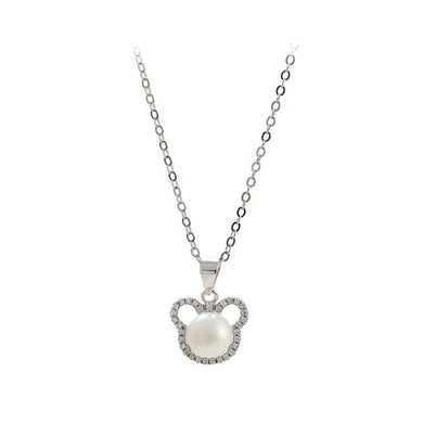 925 Sterling Silver Simple Cute Little Bear Freshwater Pearl Pendant with Cubic Zirconia and Necklace