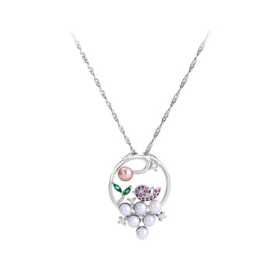 925 Sterling Silver Elegant Fashion Geometric Bird Freshwater Pearl Pendant with Cubic Zirconia and Necklace