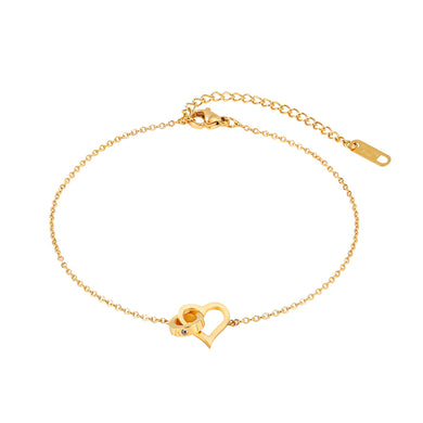 Simple and Sweet Plated Gold Hollow Heart-shaped Circle 316L Stainless Steel Anklet