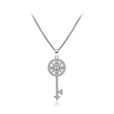 Fashion and Elegant Pattern Key Pendant with Cubic Zirconia and Necklace
