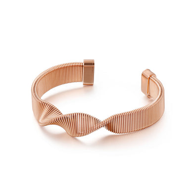 Fashion Personality Plated Rose Gold Geometric Spiral Strap 316L Stainless Steel Bangle
