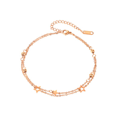 Simple Temperament Plated Rose Gold Star Double Layer 316L Stainless Steel Anklet