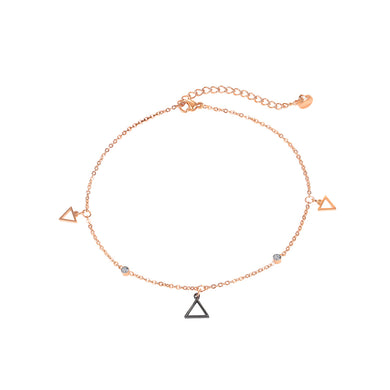 Simple and Exquisite Plated Rose Gold Geometric Triangle 316L Stainless Steel Anklet with Cubic Zirconia