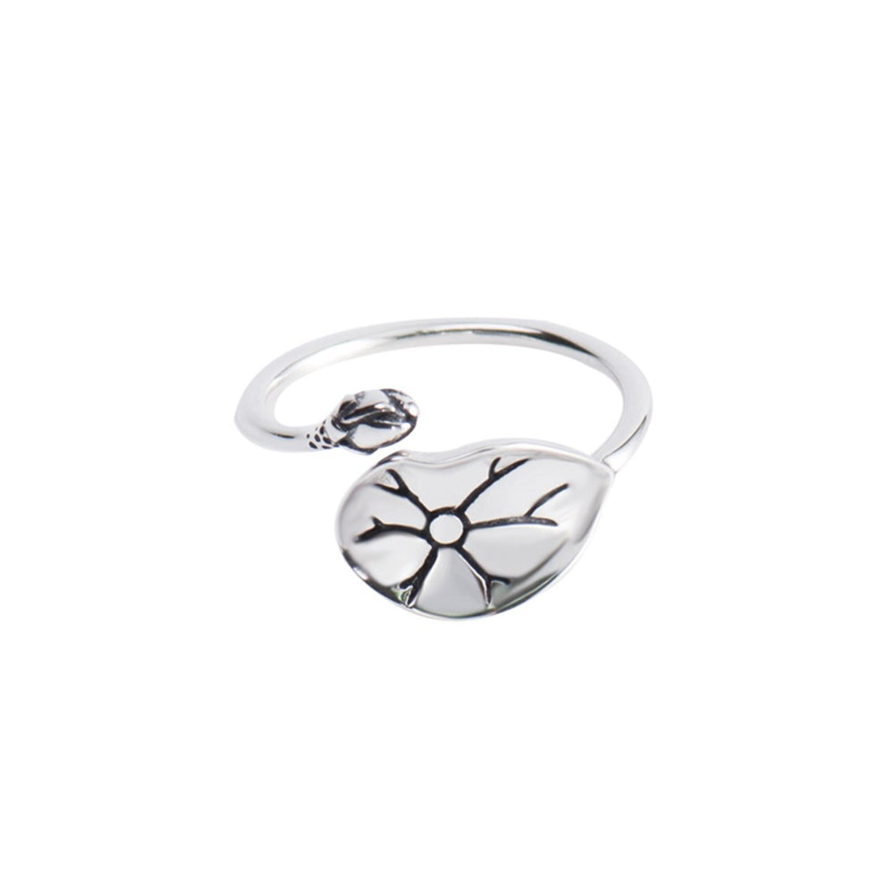 925 Sterling Silver Fashion Simple Lotus Leaf Adjustable Open Ring