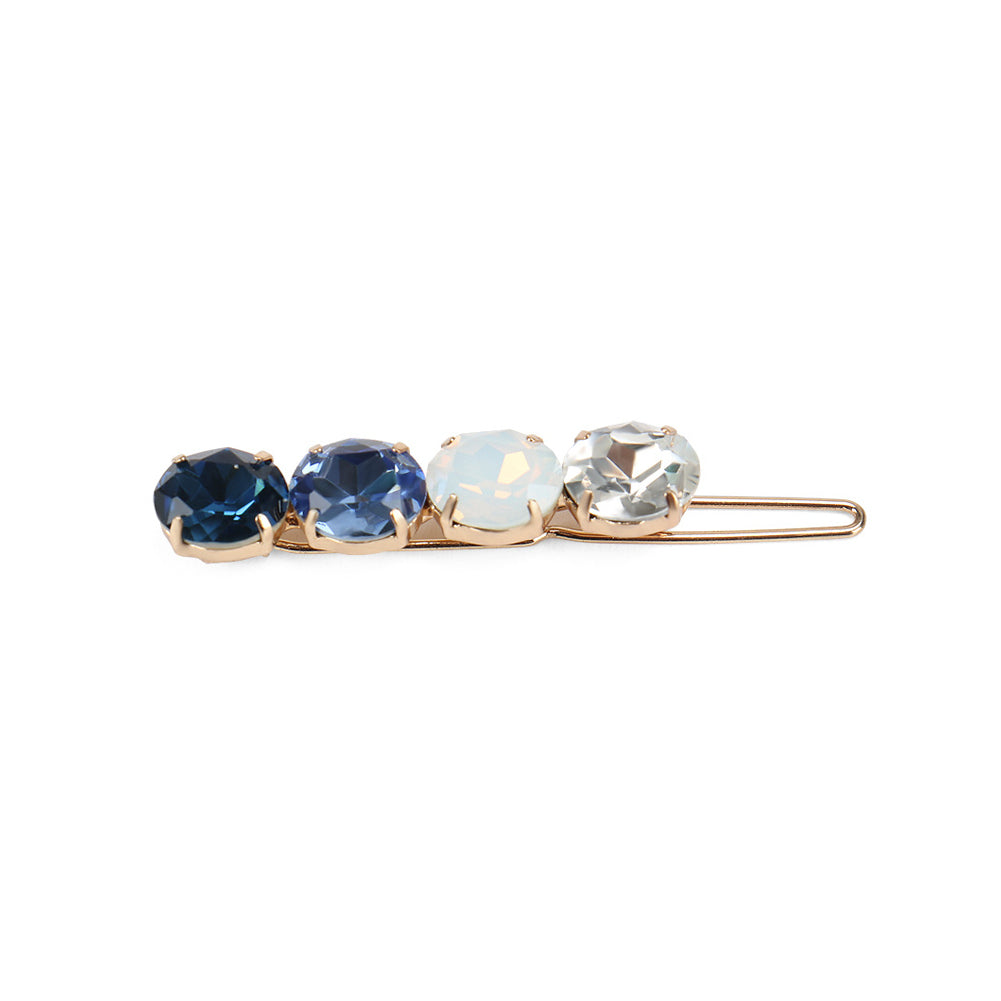 Fashion Simple Plated Gold Blue Cubic Zirconia Round Geometric Hair Clip