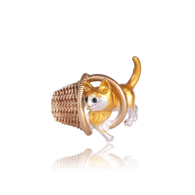 Fashion Cute Golden Cat Basket Brooch