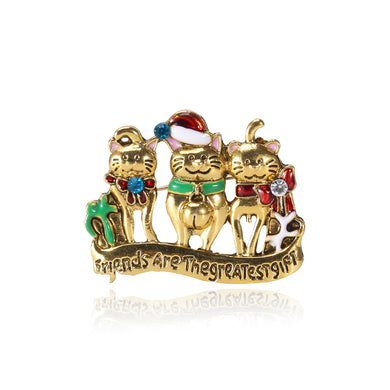Fashion and Cute Plated Gold Christmas Cat Brooch with Cubic Zirconia
