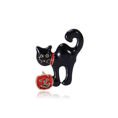 Fashion Cute Black Cat Brooch with Cubic Zirconia