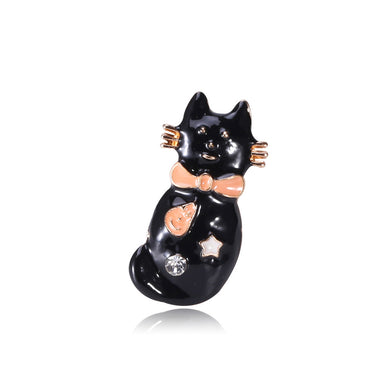 Fashion Cute Cat Brooch with Cubic Zirconia