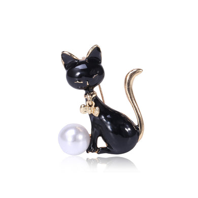 Simple and Cute Black Cat Imitation Pearl Brooch