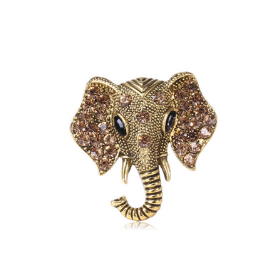 Fashion and Simple Plated Gold Elephant Brooch with Brown Cubic Zirconia