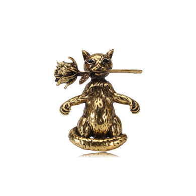 Simple and Cute Plated Gold Cat Flower Brooch