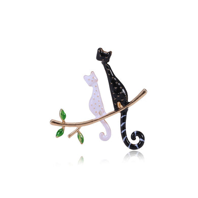 Fashion Simple Plated Gold Black and White Cat Brooch