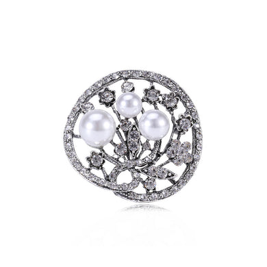 Fashion and Elegant Geometric Flower Round Imitation Pearl Brooch with Cubic Zirconia