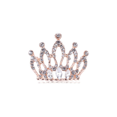 Fashion and Elegant Plated Gold Crown Brooch with Cubic Zirconia