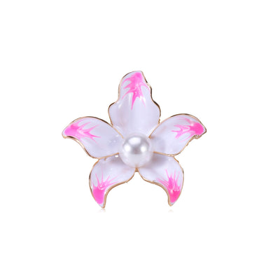 Fashion and Elegant Plated Gold Pink Flower Imitation Pearl Brooch