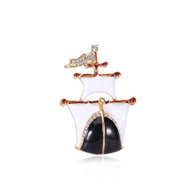 Fashion Simple Plated Gold White Sailing Brooch with Cubic Zirconia