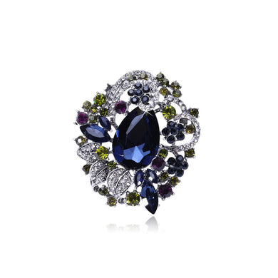 Fashion and Elegant Geometric Flower Brooch with Blue Cubic Zirconia