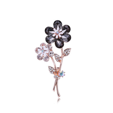 Fashion and Elegant Plated Gold Flower Brooch with Black Cubic Zirconia